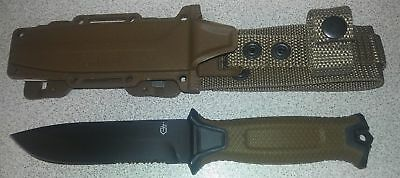 Gerber StrongArm Fixed Blade Knife Brown Partially Serrated *BRAND NEW*