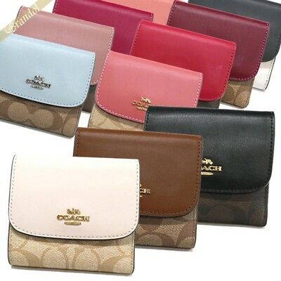 7fed6c4d NWT COACH SMALL Wallet Trifold Signature Leather Cute Case Card Coin ...