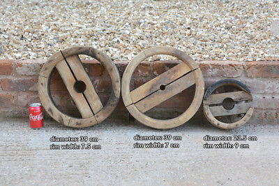 Vintage old wooden pulley machinery wheel wheels x3 - FREE DELIVERY