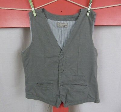 Zara Boys Solid Gray Button Up Vest 100% Cotton Size 13/14 Years Youth Child