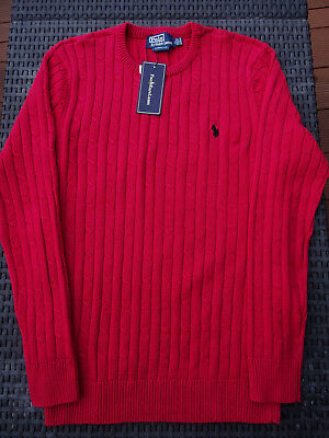 3962fe5992eae6 Pull RALPH LAUREN torsadé rouge, Taille L, 100% Neuf ! Small Pony Homme