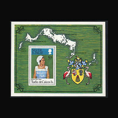 Turks & Caicos, Sc #324, MNH, 1973, S/S, Silver Jubilee, Royalty, Maps, 1018