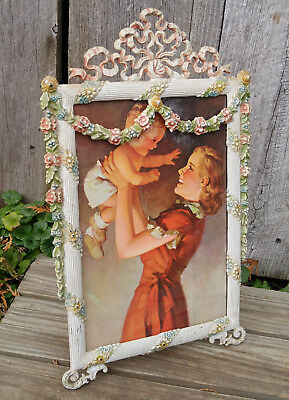 Antique French Polychrome Cast Iron Floral Swag Shelf Desk Easel Picture Frame