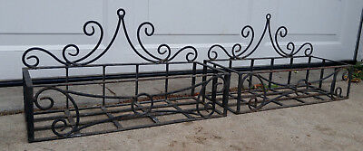Pair Vintage Black Scrolled Wrought Iron Flower Window Boxes Planters