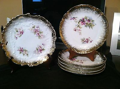 """Antique Dresden Germany Ornate Gold Trimmed Cake Plate & 5-8"""" Plates Free Shping"""