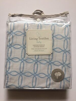Baby Fitted Crib Sheet 100% Cotton Living Textiles Poplin Blue Links New J38