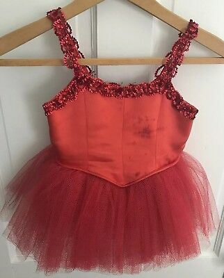 Vintage Kids Girls Dance Ballet Costume Uniform Red Satin Sequin 1950's 1960's