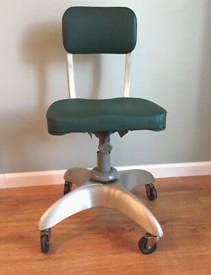 Vintage Mid Century Goodform Aluminum Chair Art Deco Industrial Green