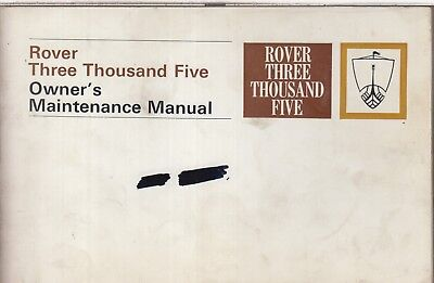 Rover P6 3500 Auto Saloon Original 1970 Owners Maintenance Manual