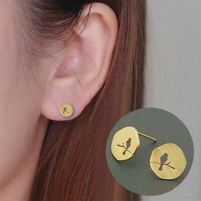 Vintage Bronze A Little Bird On Tree Branch Retro Small Boho Ear Stud Earring S