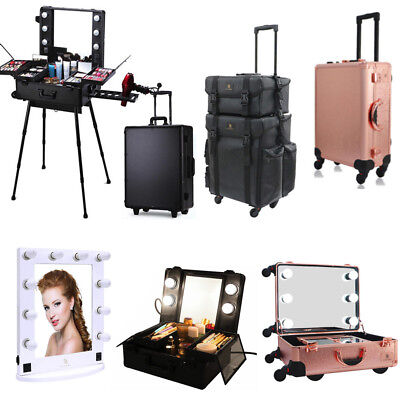 Rolling Makeup Case Studio Cosmetic Artist Bag Train Box Hollywood Mirror Light