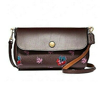 NWT COACH Freversible Wildflower Purple Leather Oxblood Wine Crossbody  F12012 2ee7f999ebcb8