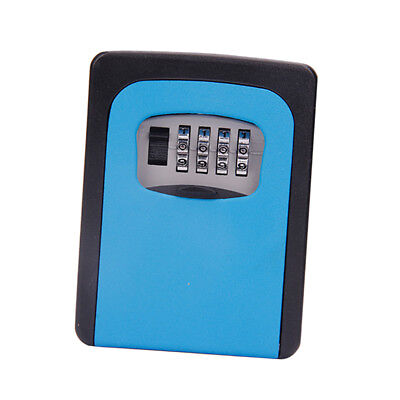 Wall Mount Key Box &4 Digit Combination Home Security Lock Safe Storage Blue
