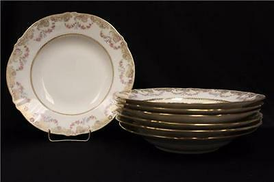 "Antique ca.1885 7 10"" Haviland Soup bowls a lot of gold, garlands of roses"