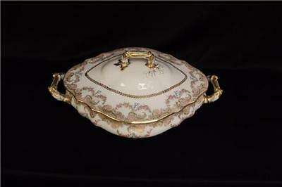 Antique ca. 1885 Haviland Porcelain Oval covered vegetable dish W. Roses & Gold