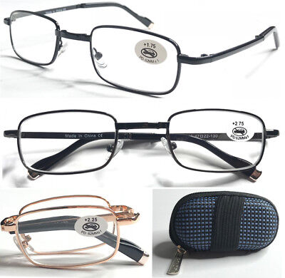 L240 Quality Foldable Metal Reading Glasses/Comfort Arms/ + Easy-Hold Shell Case