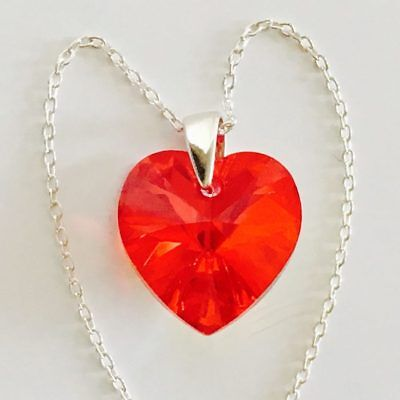 Swarovski Elements Crystal Heart Pendant Necklace Silver Red Siam AB Valentines