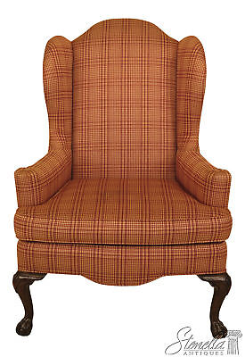 46133EC: ETHAN ALLEN Upholstered Clawfoot Cherry Wing Chair