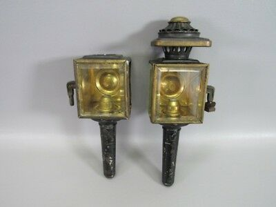 Brass & Glass Sconce Lanterns Pair of (2) Carriage Lamps Candle Holders Antique
