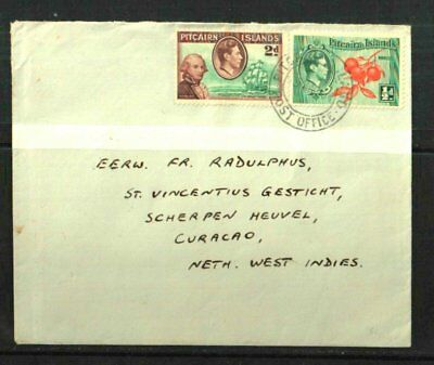Pitcairn Island 1954 Rangitiki Cover & Letter To Curacao D.w.i.