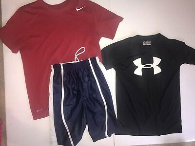Boys Nike Under Armour Alleson Athletic Shirts Tops Shorts Sz M 8-10 Lot of e8934bd61