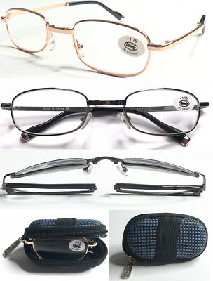 L241 Quality Foldable Metal Reading Glasses+Zipper Carry Case With Elastic Strap