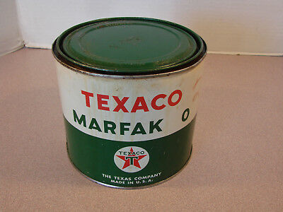 Vintage Texaco Marfak 0 Motor Grease Tin Can Texas 5 Pounds Net