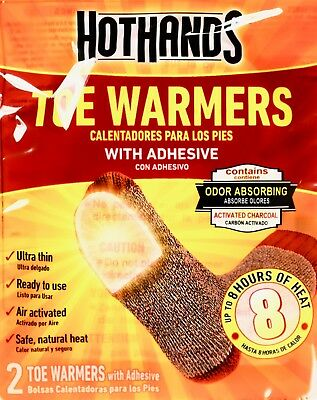 HotHands Adhesive Toe Warmers 8 Hours Pure Heat, Lot of 7, 16, 32, or 72 Pairs