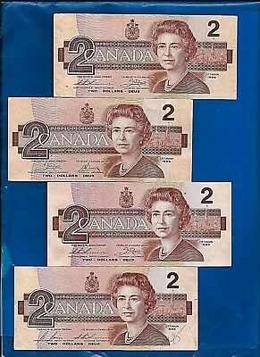 FOUR 1986 circulated CANADA Canadian 2 TWO DOLLAR BILLS NOTES F-EF