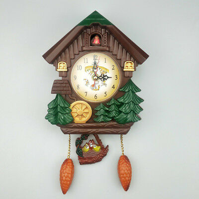 """Vintage Cuckoo 6"""" Plastic Wall Hanging Silent Swing Clock Hourly Chime Home New"""