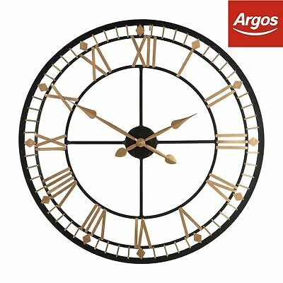 Premier Housewares Skeleton Wall Clock - Black & Gold