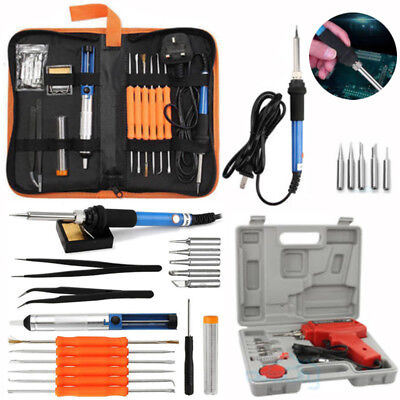 60W 110V Adjustable Electric Soldering Iron Welding Tool Kit Solder Wire Tweezer