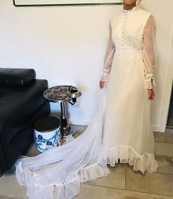 Vintage 1960s Lace Chiffon Wedding Dress VGC Sz 10-12 By Holsteins Adelaide