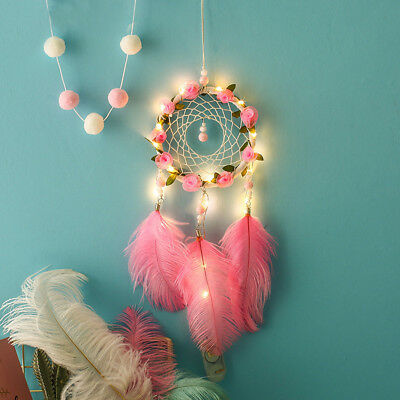 Dream Catcher Night Light Feather Handmade Wall Hanging Room Home Decor Gifts