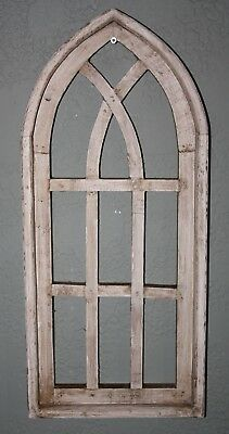 """Wooden Antique Style Church WINDOW Frame Primitive Wood Gothic 22 1/2"""" Shabby"""