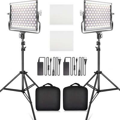 2 X TRAVOR L4500 Bi-color LED Video Light Camera Studio Lighting Stand Kits US