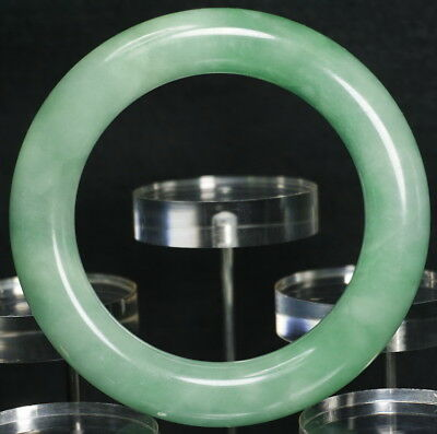 Antique Chunky Chinese Icy Natural Green Jadeite Jade Stone Bangle Bracelet 59mm
