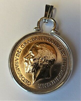 George V 1918 to 1928 Farthings Mounted in a Silver plated Cinch Coin Mount