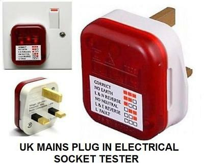 UK Mains Power Plug 13A 250v Socket Tester Wiring Safety Checker