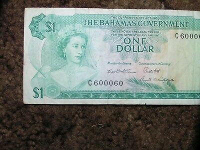 1965 The Bahamas Government One Dollar Note Fancy Serial Number 600060