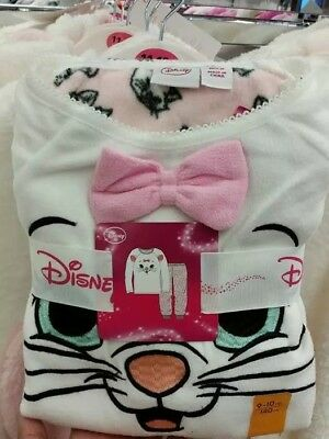Primark Girls Aristocat Marie Nightwear Soft Fleece Pyjama Pjs Set Age 7-15