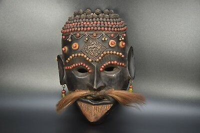 Aged Used Wood Magar Tribe Tharu Shamanic Ritual Shaman Mountain mask Shaman