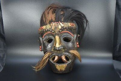 Tribe Tharu Shamanic Ritual Shaman Mountain Mask Wood old vintage Exorcism,Nepal