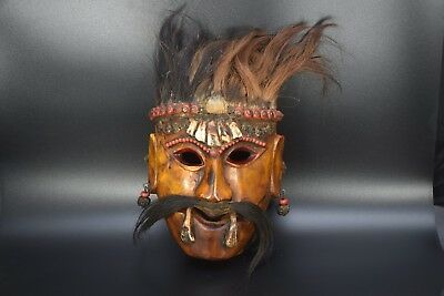 Antique Handcrafted Bodhi Wood Shaman Ritual black Spooky Exocism Saman Mask