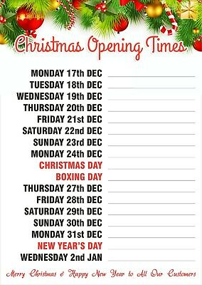CHRISTMAS XMAS OPENING TIMES POSTERS -  Many Sizes & Styles OPENING HOURS