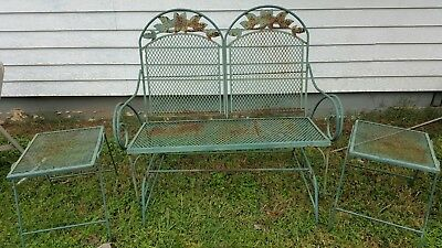 Vintage Green Wrought Iron Patio Glider And 2 Tables