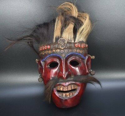 Aged Used Wood Magar Tribe Tharu Shamanic Ritual Shaman Mountain mask Wood Mask