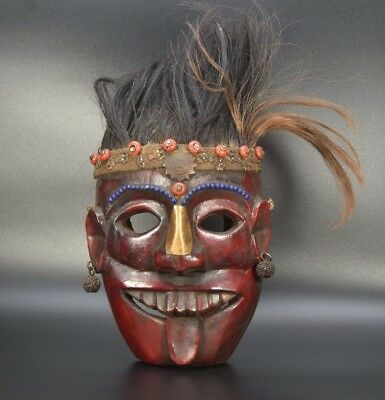 Aged Used Wood Magar Tribe Ritual Shaman Mountain RARE OLD Mask Tharu Shamanic
