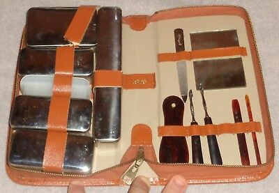 Vintage Mens Leather Grooming Set Travel Toiletry Kit 13 Pc West Germany Chrome