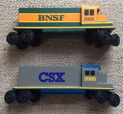 Lot Of 2 Whittle Train Company Wooden Train Engine Bnsf Csx Compatible Thomas